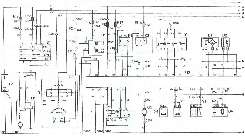 Схема электрическая принципиальная электрооборудования автомобиля Daewoo Sens.